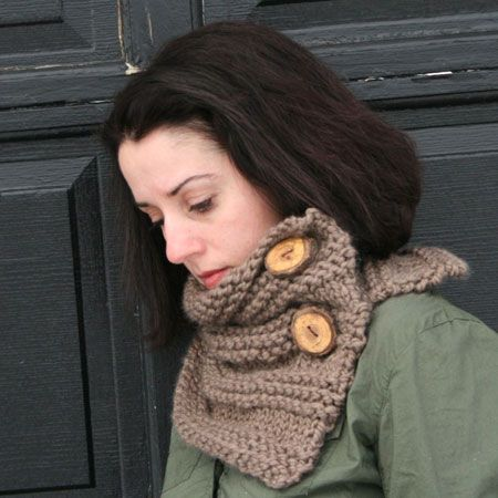 Handknit #Neckwarmer With Tree Branch Buttons