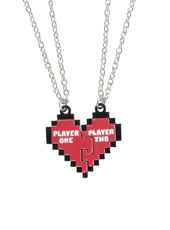 Blackheart Player 1 & 2 Heart Best Friend Necklace Set,
