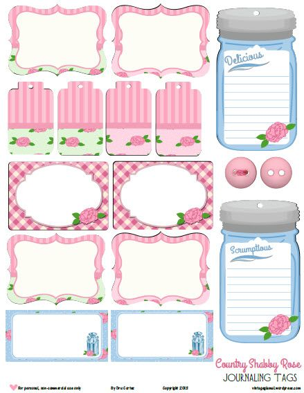 Free Printable Download -   Country Shabby Rose Tags