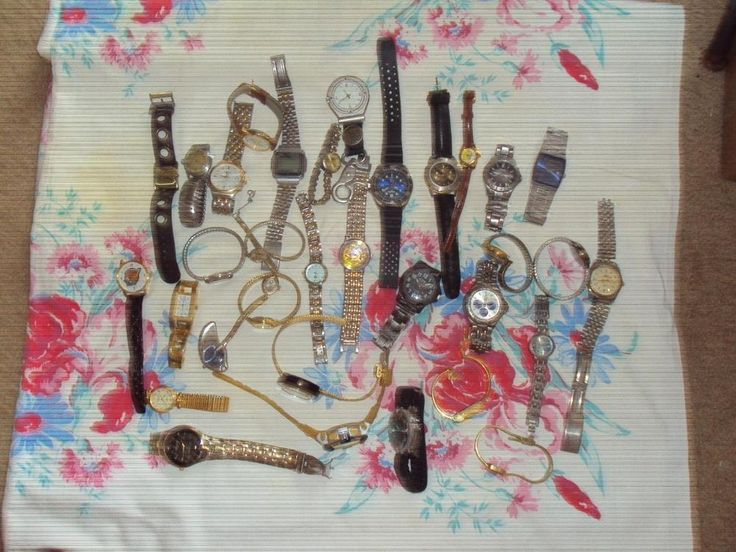 Large Vintage Modern Watches Lot 34 Parts Repair Fossil Timex Hamilton #multibrand