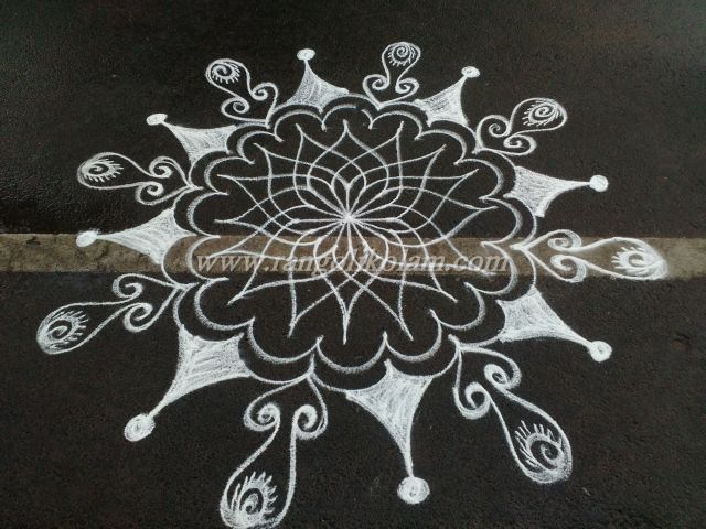 On every Morning i will try to design the kolam in my own style ....this is one type of kolam without dot in freehand style...