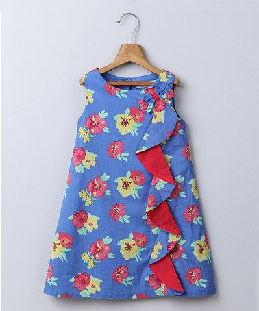 Another great find on #zulily! Blue & Red Floral Shift Dress - Infant, Toddler & Girls #zulilyfinds