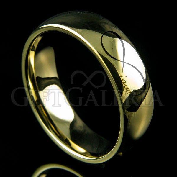 """Aliança de casamento em tungstênio ouro com espessura de 6mm Endless Love, formato clássico. Interior abobadado (anatômico) e gravação a laser com o símbolo do infinito e a palavra """"love"""" no exterior da aliança."""
