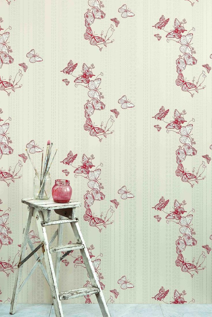 Bugs & Butterflies Raspberry | PaperRoom