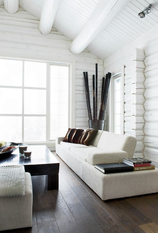 white painted log cabin interior