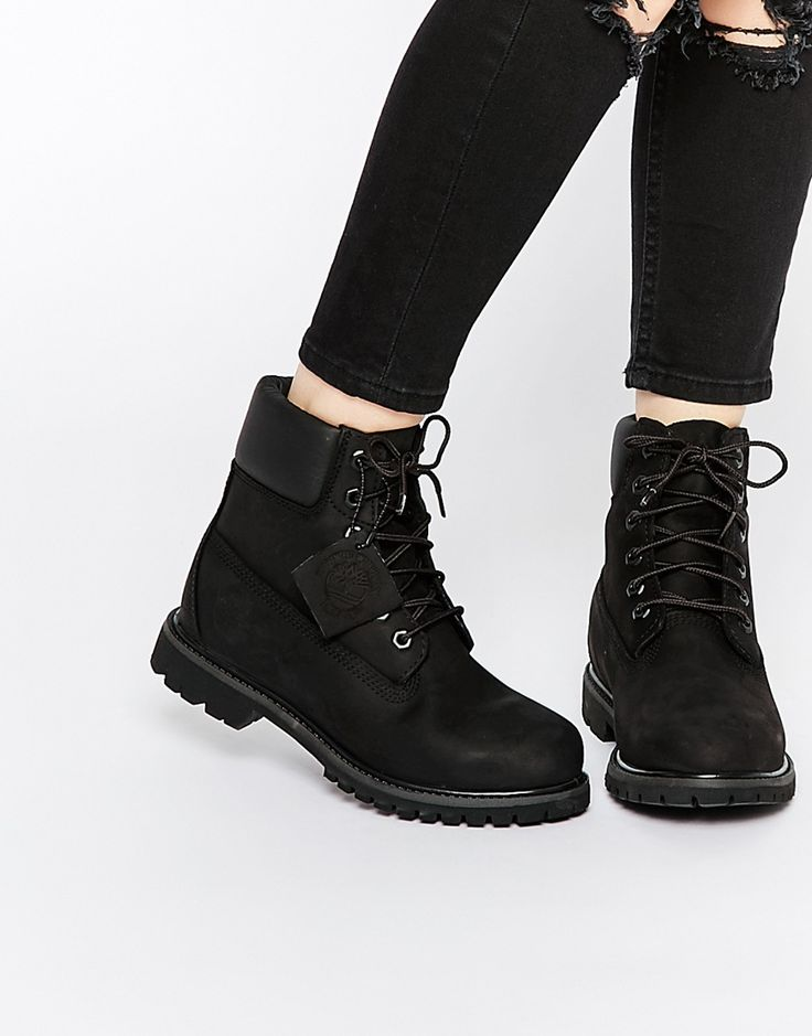 Image 1 of Timberland 6 Inch Premium Black Lace Up Flat Boots