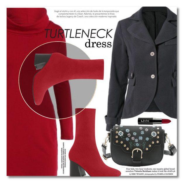 """Turtleneck dress"" by svijetlana ❤ liked on Polyvore featuring NYX, vintage, minidress, turtleneck, grayblazer and vintageblazer"