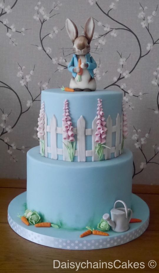 Peter rabbit baby shower cake. Mum to be is expecting a baby boy and loves Beatrix Potter. Bottom tier is chocolate sponge with chocolate buttercream and salted caramel. Top tier is coffee and walnut cake with coffee buttercream. Everything is...