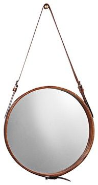 """Accent Jamie Young Leather Strap 29"""" High Round Wall Mirror contemporary mirrors"""