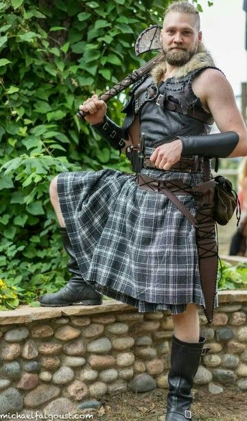 I love the original look of his leathers. The stitching looks period, something a forest hunter or a warrior who likes to move would make. A perfect example ofa Viking Celt. texas renaissance festival 2014