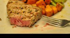 Grilled Ahi Tuna Steaks with Lemon, Thyme, and Garlic Marinade