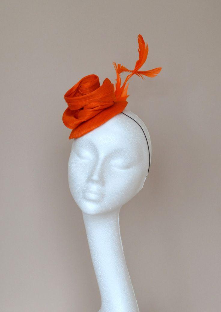 Small orange silk hat. Orange fascinator. Orange wedding hat. Orange flower hat.  Handmade silk hat. Derby hat. Ascot hat. by jaracedesigns on Etsy