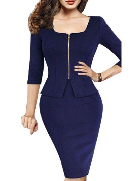 Brilliant Round Neck Blended Zipper Bodycon-dress Bodycon Dress from fashionmia.com