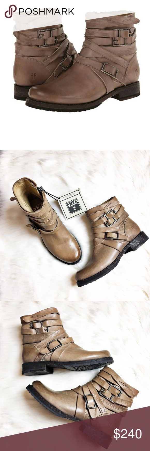 Frye Veronica Short Strappy Boot Super cute Frye Booties.  NWT but comes with no box.  Minor scuffs on toes of shoe from being against other shoes. Color states gray but these are tan/taupe IMO.  Features straps and brass colored hardware. Frye Shoes Ankle Boots & Booties