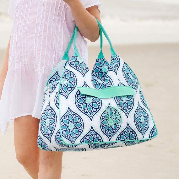Boho Monogrammed Beach Bag ~ Monogrammed Shoulder Bag ~ Monogrammed Tote Bag ~ Monogrammed Diaper Bag ~ Monogrammed Gym Bag