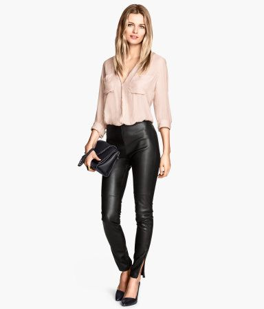 Imitation Leather Pants w/ zips $34.95 LOVE THESE- but PLEASE make them in 34/36 inseam!| H&M US