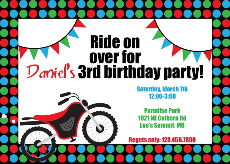 17 best ideas about Motorcycle Birthday Parties – Motorcycle Party Invitations