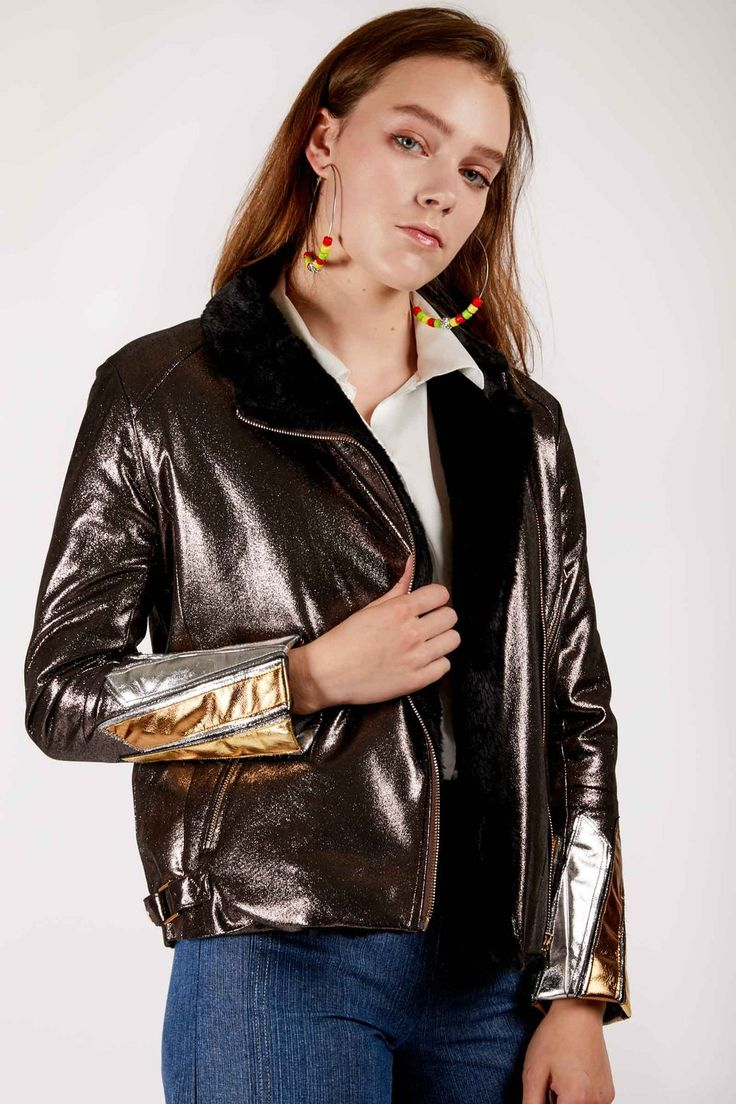 Metallic Bronze Faux Leather and Fur Jacket in 2020
