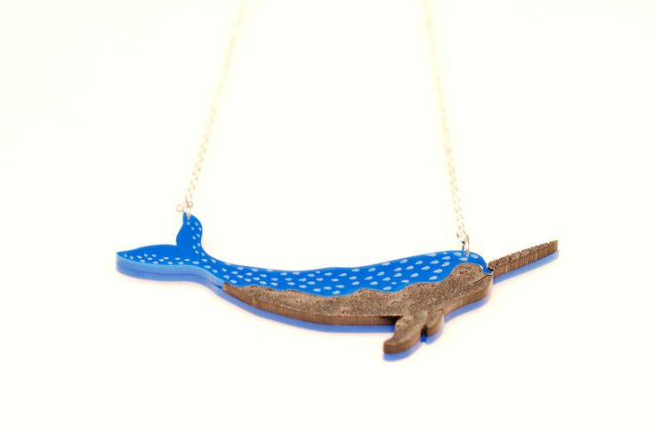 Narwhal/Narwhale in Perspex, Laser Cut Acrylic Animal Necklace