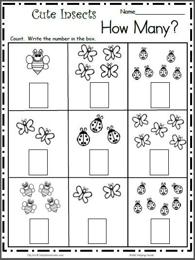 Count the Cute Insects Free Math Worksheet for K