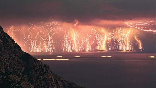 4.) Catatumbo lightning: This is an atmospheric phenomenon in Venezuela. It occurs only over the mouth of the Catatumbo River where it empti...