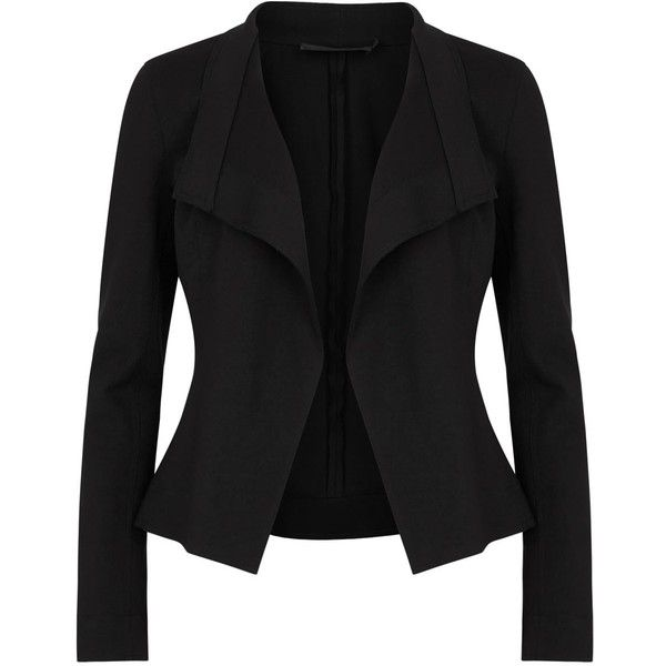 Womens Smart Jackets Donna Karan New York Black Structured Jersey... found on Polyvore featuring outerwear, jackets, open front jacket, jersey jacket, structured jacket, black jacket and donna karan