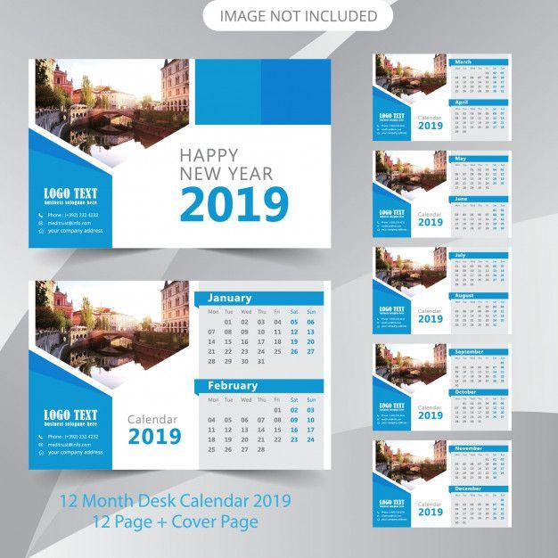 Calendario Vector.Plantilla De Planificador De Calendario De 2019 De Escritorio Vector