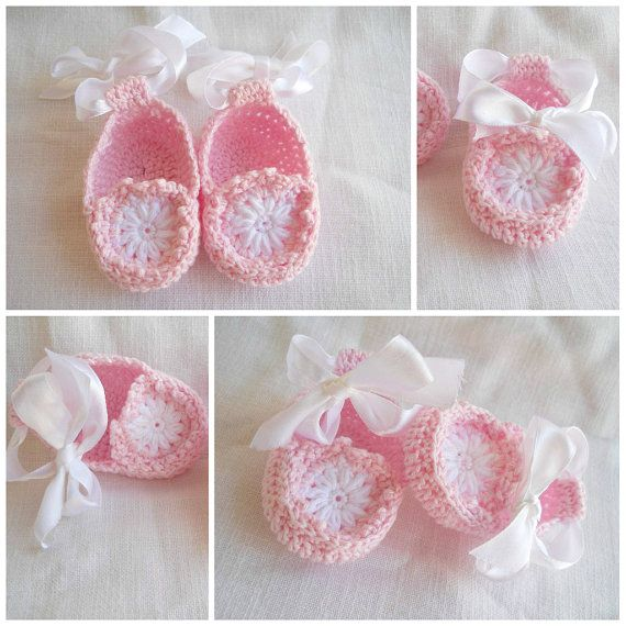 Baby Girl Slippers Booties Crochet PATTERN 0-3 month in PDF