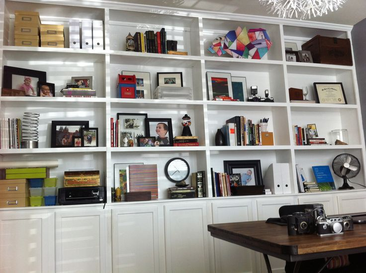 Office Built In Bookshelves Arranged