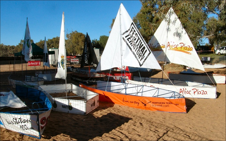 Boats moored at the Henley-on-Todd in Alice Springs...