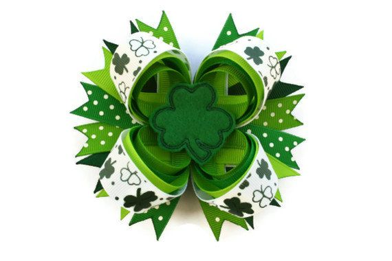 St Patricks Day Hair Bow 4 inch bow in by TheSweetBCollection, $9.49