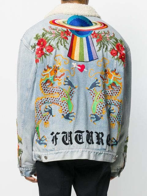 83839be884c Gucci Shearling Lined Denim Jacket With Embroidery - Farfetch ...