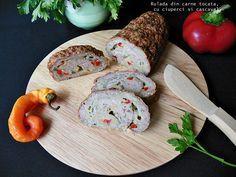 Reteta culinara Rulada din carne tocata, cu ciuperci si cascaval din Carte de bucate, Aperitive. Cum sa faci Rulada din carne tocata, cu ciuperci si cascaval