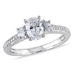 1 CT. T.W. Oval Diamond Three Stone Engagement Ring in 14K White Gold - Clearance - Gordon's Jewelers