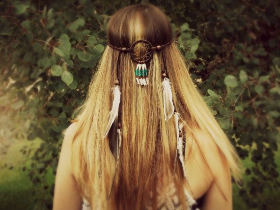 Dream Catcher Headband Braided Leather Feather By
