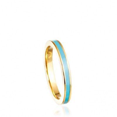 VINTAGE BLUE ENAMEL RING