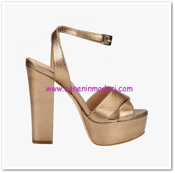 Hotiç gold topuklu ayakkabı