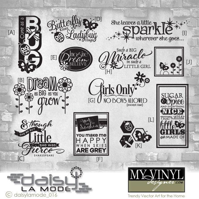 DIGITAL DOWNLOAD ... in AI, EPS, GSD, & SVG formats @ My Vinyl Designer #girlsroomvinyl