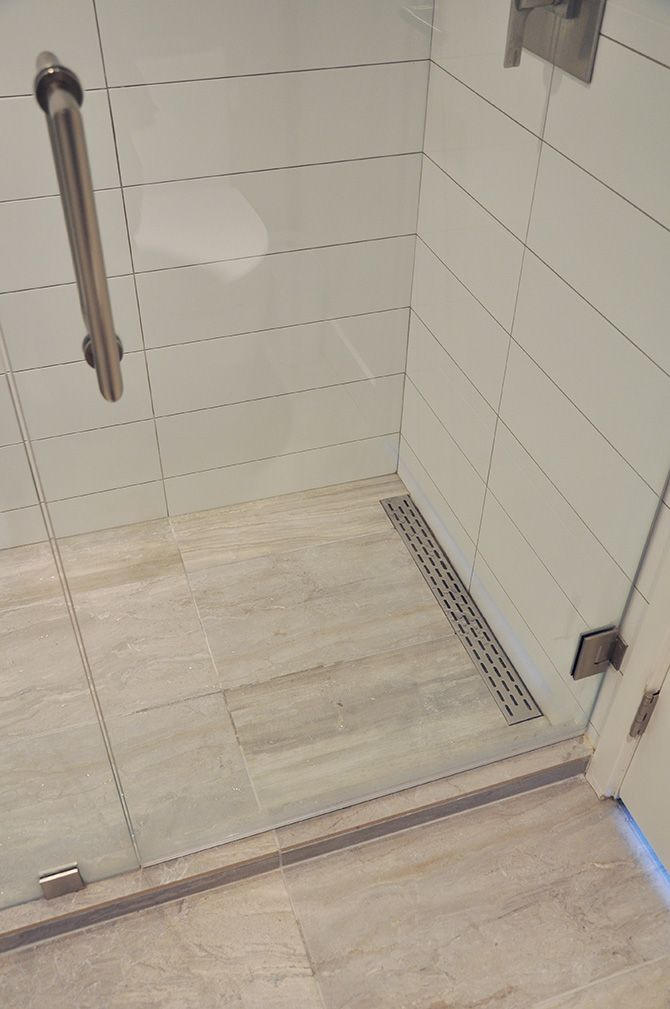 Linear Shower Floor Drain Plus The Large White Tile