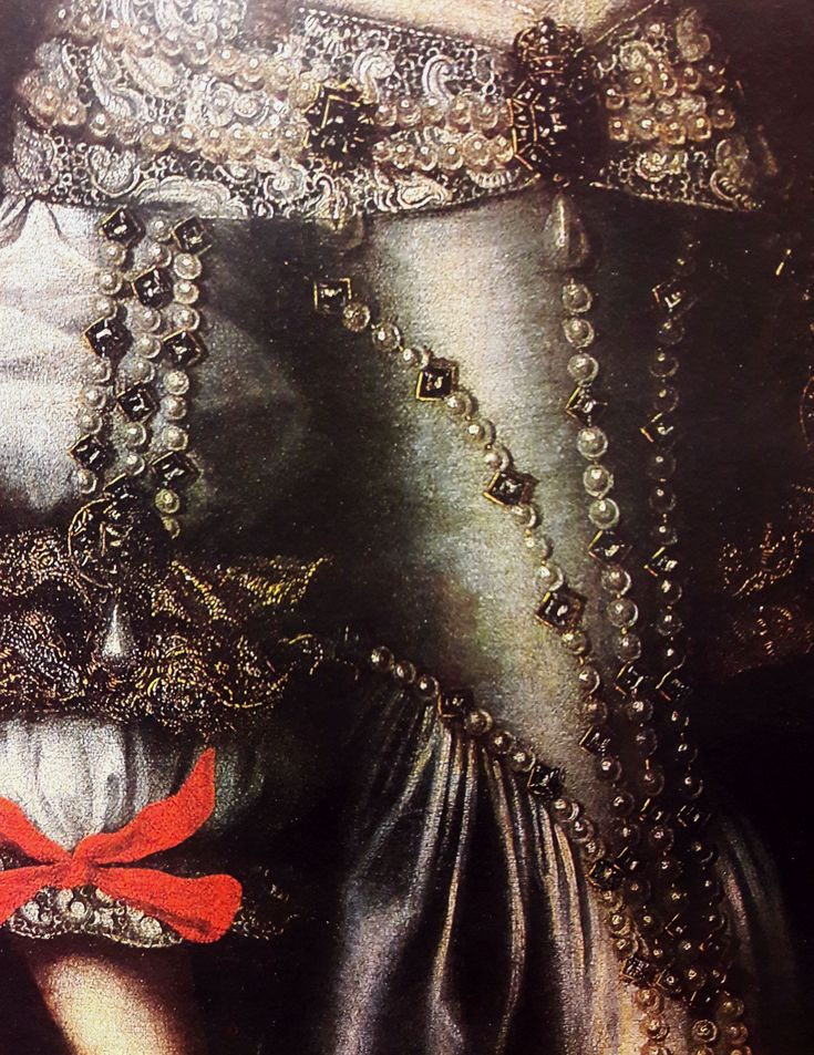Detail of portrait of Eleanor Maria Josepha of Austria by Anonymous Painter, ca. 1670 (PD-art/old), Lviv National Art Gallery