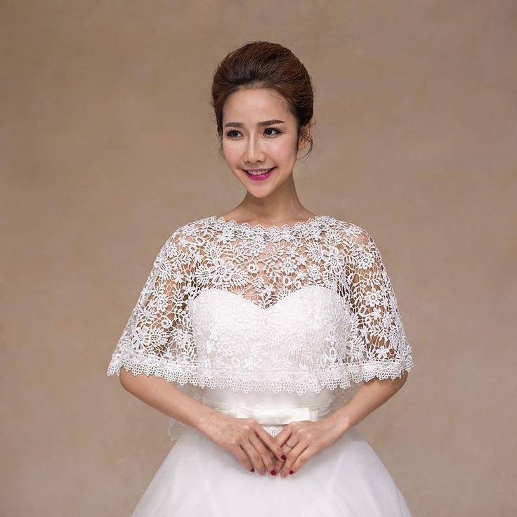 Bridal Shawls Pastoral Hollow Lace Wedding Capes Floral Stole Shrug Bolero Wraps