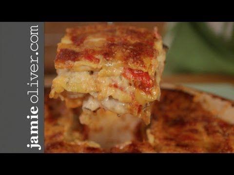 Jamies Mate Pete Cooks Roast Vegetable Lasagne, this looks amazing! Good way to use up a lot of veggies!