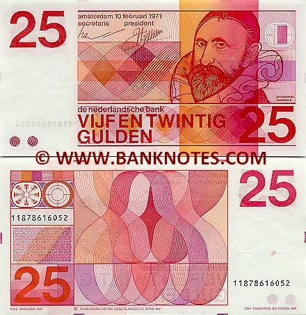 Netherlands 25 Gulden 1971 Front: Jan Pieterszoon Sweelinck (1562-1621). Back: Geometrical designs. Watermark: Rectangular wave design. Artist: Robert Deodaat Emile (Ootje) Oxenaar. Printer: Joh Enschede En Zonen.