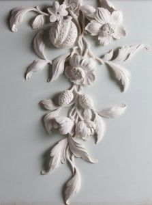 Hand modelled stucco flowers by Geoffrey Preston