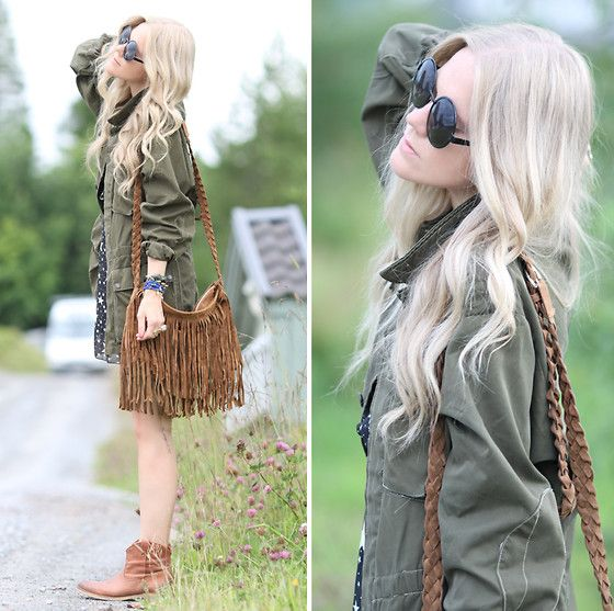 Vintage Army Jacket, Fringe Bag, Star Printed Dress, Ettika Wrap ...