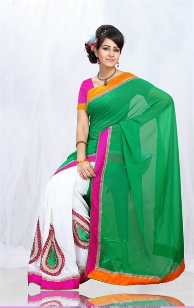 Picture of Stylish Green and White Party Wear Saree