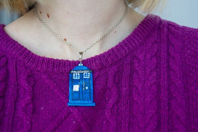 TARDIS nacklace polymer clay