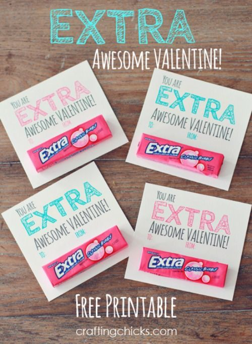 You're extra awesome Gum Valentine and 28 Printable Valentines for the Kids - fun printables for homemade valentines on Frugal Coupon Living.