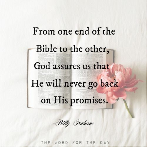 """Not one of all the LORD's good promises to Israel failed; every one was fulfilled. Joshua 21:45God has not changed. He is still keeping His promises; they are as dependable as ever. When God speaks through His Word, you can be sure that what He says will come to pass. When He declares, """"I will never leave you"""" (Heb. 13:5), """"I will guide you"""" (Ps. 32:8), """"My grace is sufficient for you"""" (2 Cor. 12:9), and I """"shall supply all your need"""" (Phil. 4:19), He means it. He will never fail us. He will…"""