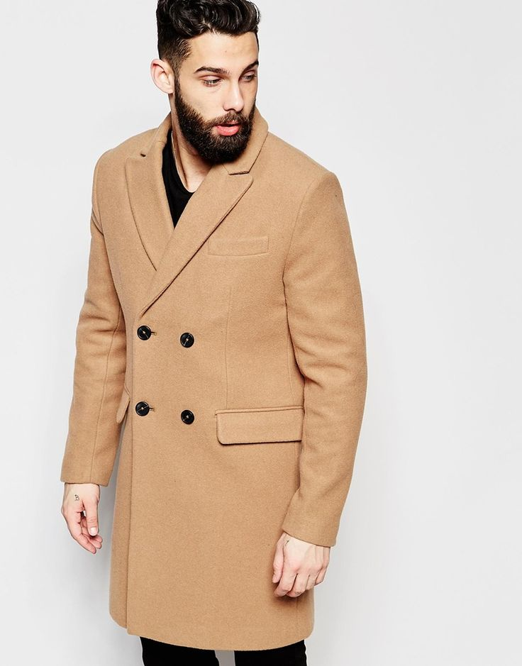 ASOS+Double+Breasted+Overcoat+in+Camel